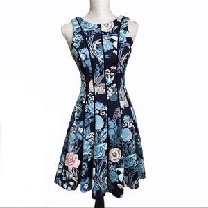 WHBM Floral Fit and Flare Scuba Dress